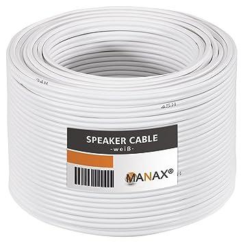 MANAX® cable del altavoz 2 x 1,50 mm² 50 m blanco
