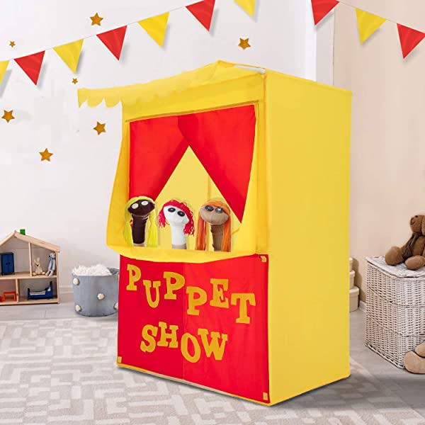 Guidecraft Wooden Floor Puppet Theater For Kids: Includes Chalkboard Curtains Toddler Dramatic Play GD-51072 Clock and Interchangeable Signs