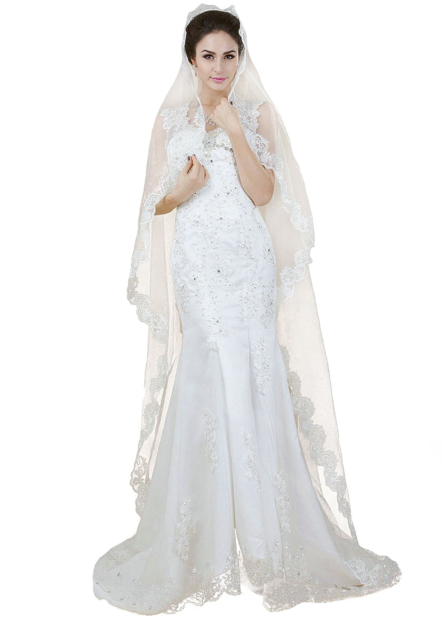 Aukmla 1 Tier Cathedral Bridal Veil with Lace Edge for Women (Ivory)