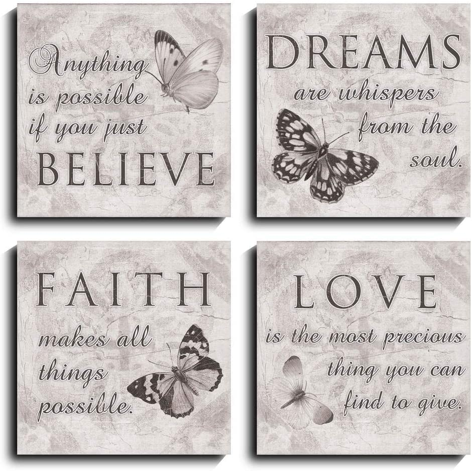 Black and White Butterfly Family Canvas Wall Art Quotes Love Dream Faith Believe Bathroom Wall Decor Posters Picture Prints (12*12inch*4)