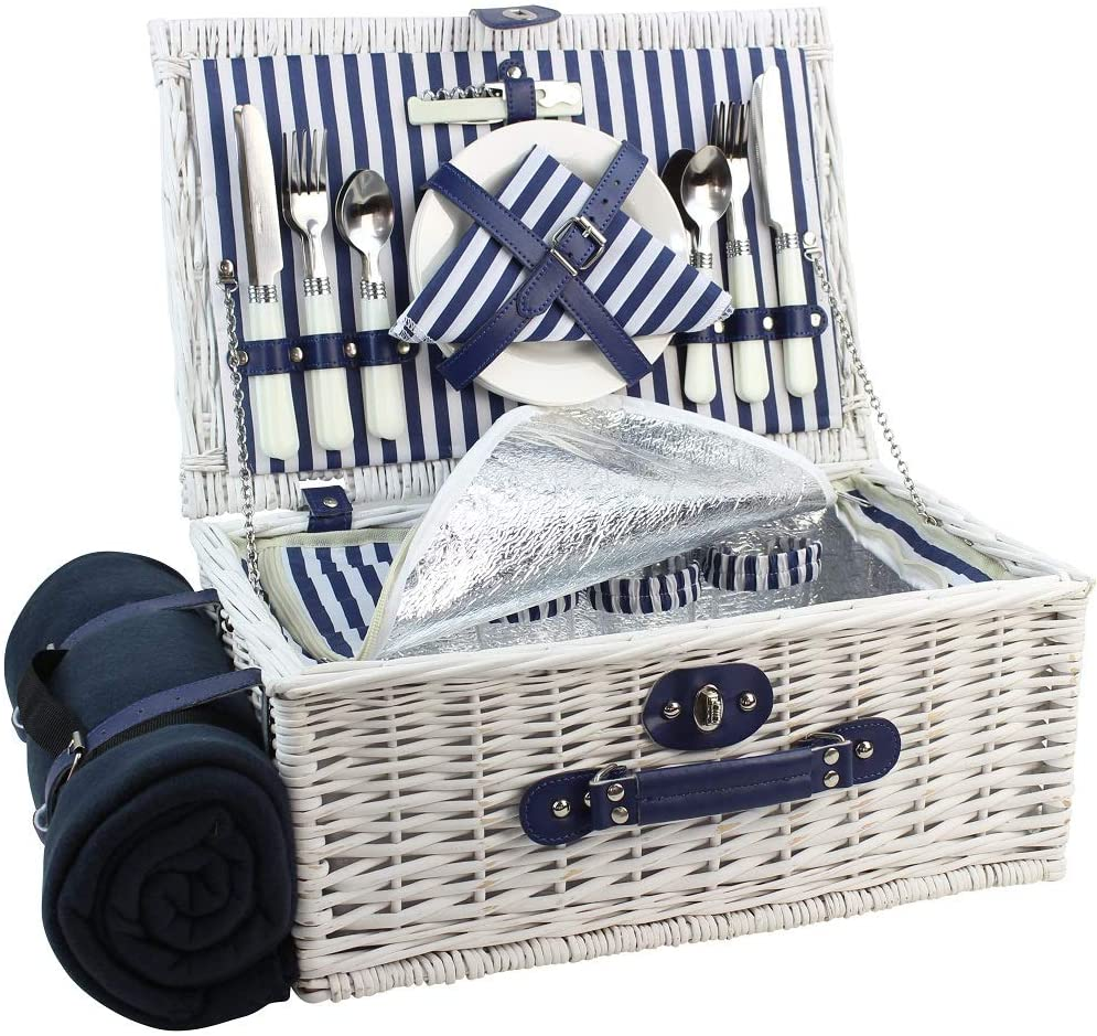 Picnic Basket Willow for 4 Persons, Large Wicker Hamper Set with Big Insulated Cooler Compartment, Free Fleece Blanket with Waterproof Backing and Cutlery Service Kit- Fashionable White Washed Color