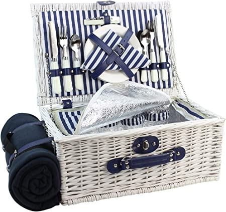 Amazon Com Picnic Basket Willow For 4 Persons Large Wicker Hamper Set With Big Insulated Cooler Compartment Free Fleece Blanket With Waterproof Backing And Cutlery Service Kit Fashionable White Washed Color