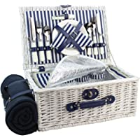 HappyPicnic Picnic Basket Willow for 4 Persons | Large Wicker Hamper Set with Big Insulated Cooler Compartment, Free Fleece Blanket and Cutlery Service Kit- Fashionable White