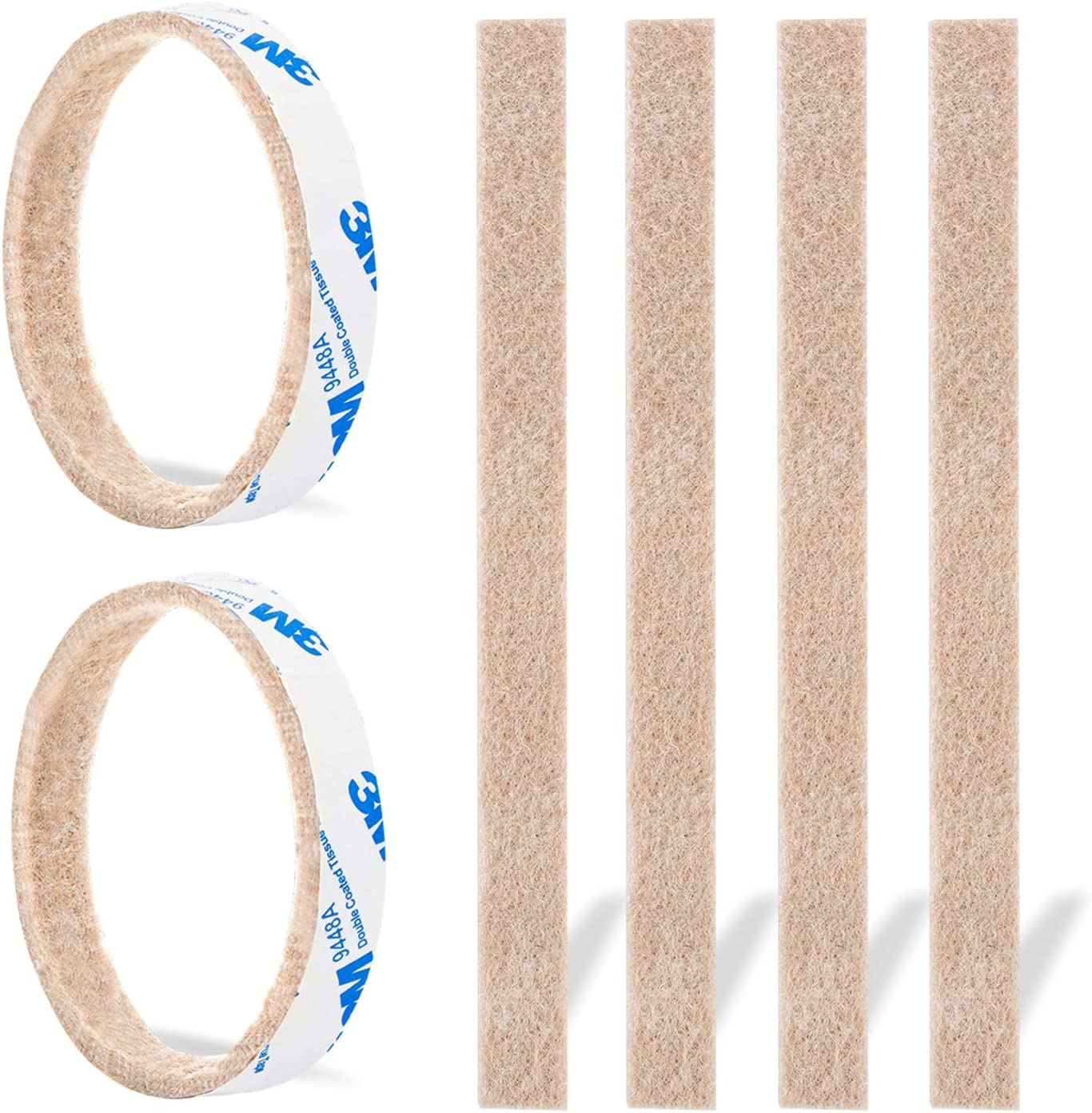 """Furniture Felt Pads Strips 20pcs Pack 1/2"""" x 6"""" Self Adhesive Beige Furniture Pads Anti Scratch Felt Pads Heavy Duty 1/5inch Thick Floor Protector for Chair Feet for Hardwood Floor"""