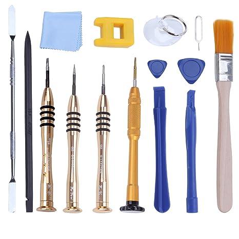 UKCOCO 15pcs/Pack Kit de herramientas de reparación profesional de apertura Pry herramientas de destornillador Magnetizador para iPhone X/8 Plus/7 ...