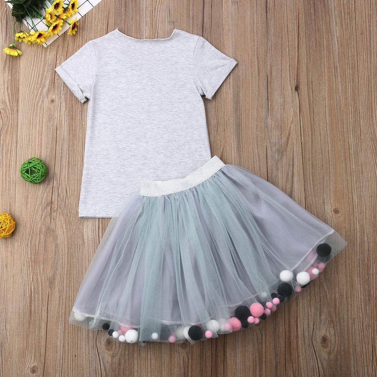 Toddler Kids Clothing Baby Girls Cute Eyelash T-Shirt Top+Tulle Party Tutu Mini Skirt 2Pcs Outfits Clothes Set