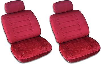 Car Bucket Seat Cover Velvet Fabric Red Zebra Universal Interior Accessories 2PC