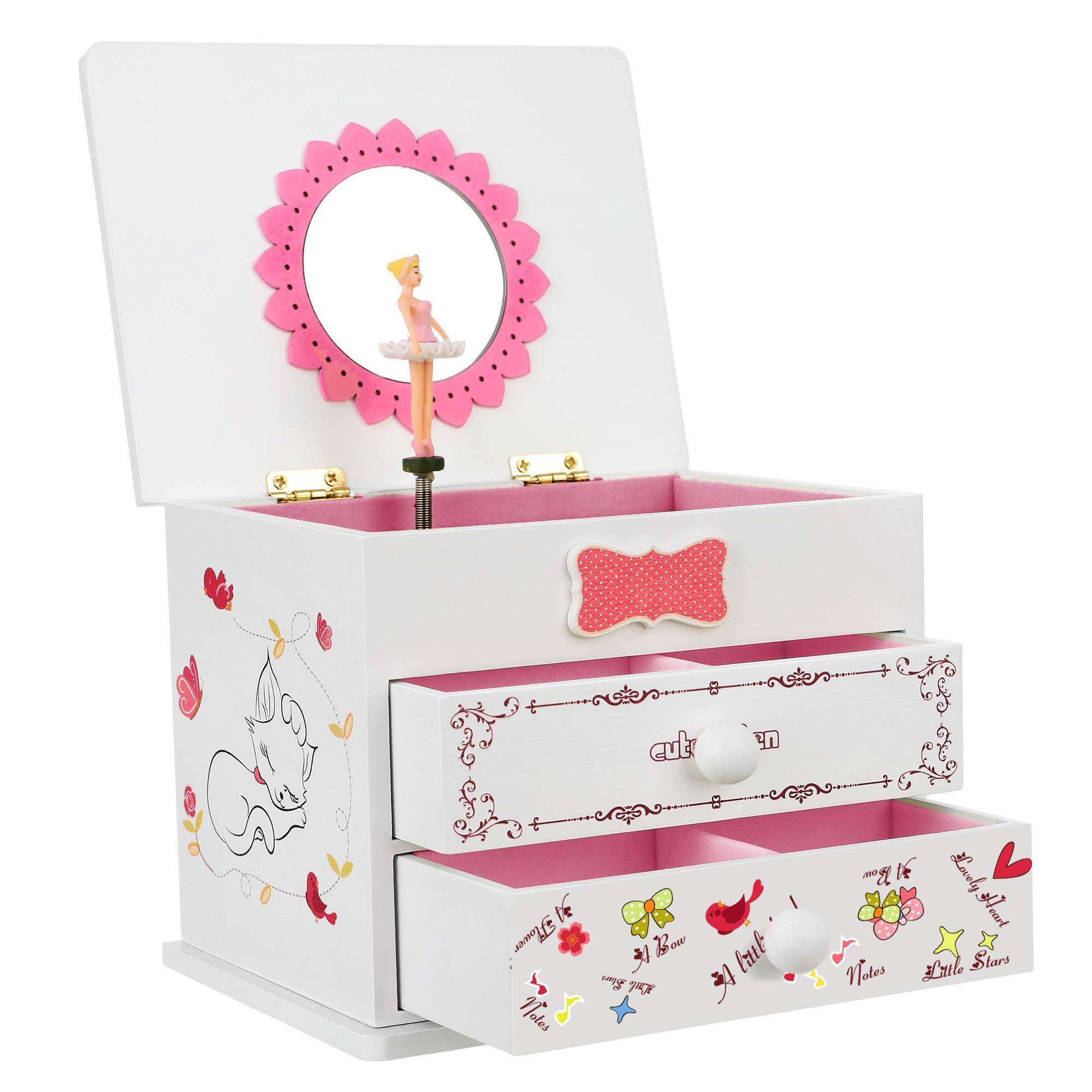 "SONGMICS Musical Jewelry Box, 5.9""L x 4.5""W x 4.8""H, White"