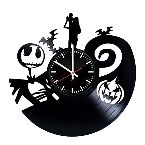 Nightmare before Christmas Film Handmade Vinyl Record Wall Clock – Get unique bedroom or kids room wall decor – Gift ideas for children, friends, sister – Animated Dark Film Unique Art Design