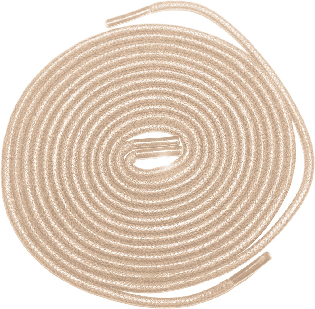Shoeslulu 35'' Premium Round Waxed Canvas Shoelaces Bootlaces (35 in. (90 cm) Pack of 2, Warm Oatmeal)