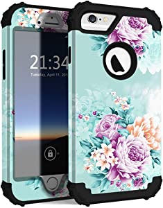 PIXIU iPhone 6 6s case,Three Layer Heavy Duty Shockproof Protective Soft Silicone Hard Plastic Bumper Sturdy Case Cover for iPhone 6 6s 4.7 inch Flower