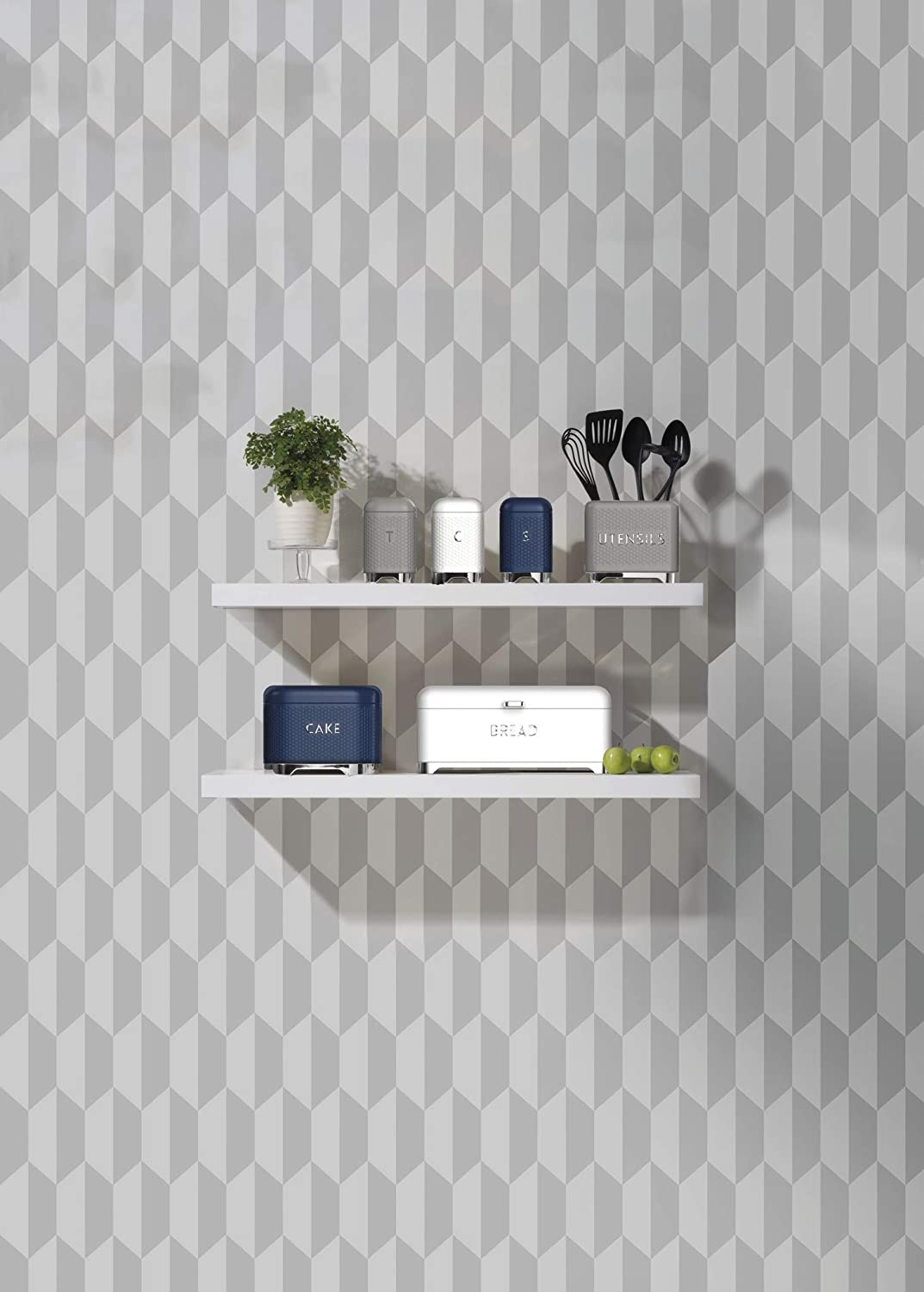 Steel KitchenCraft Lovello Textured Tea//Coffee//Sugar Canisters with Geometric Hexagon Pattern 3 Pieces Shadow Grey