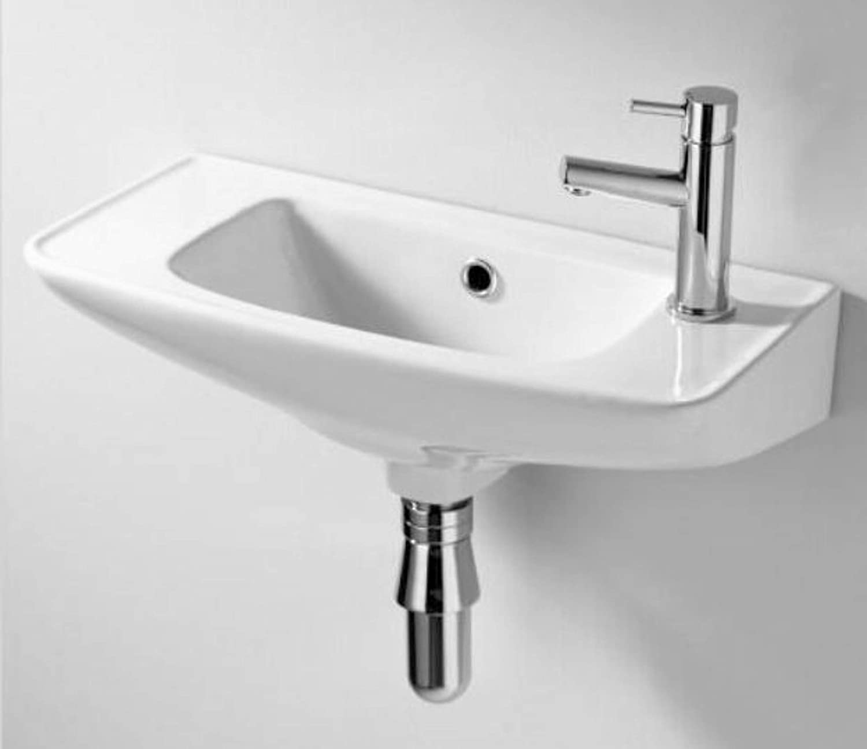 Lavabo pequeñ o para cuarto de bañ o color blanco, para colgar en pared Ukcrescent