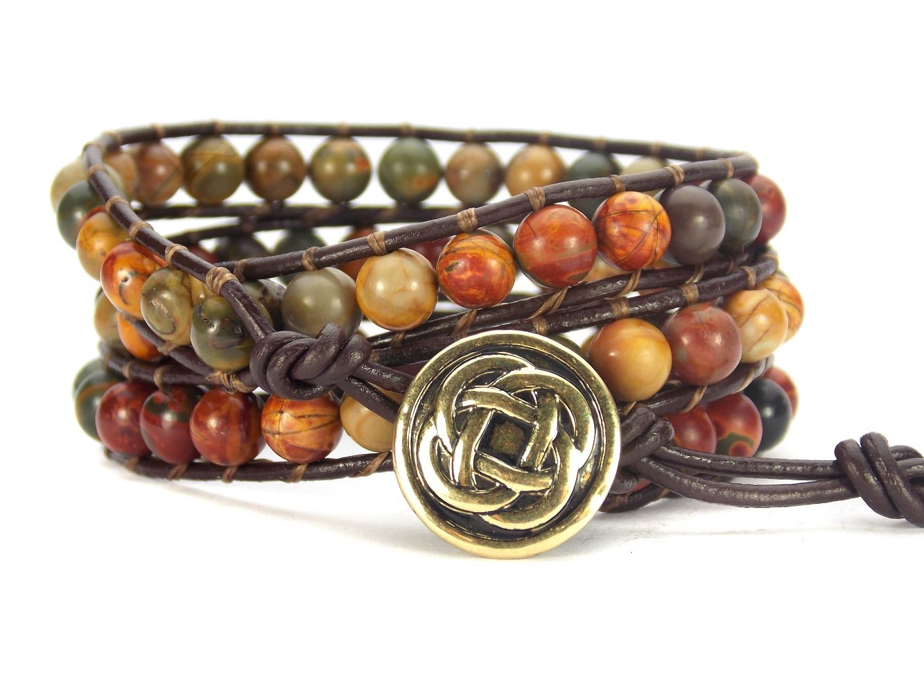 Celtic Knot Bracelet Leather Picasso Jasper Beaded Wrap (Goldish Bronze Button)
