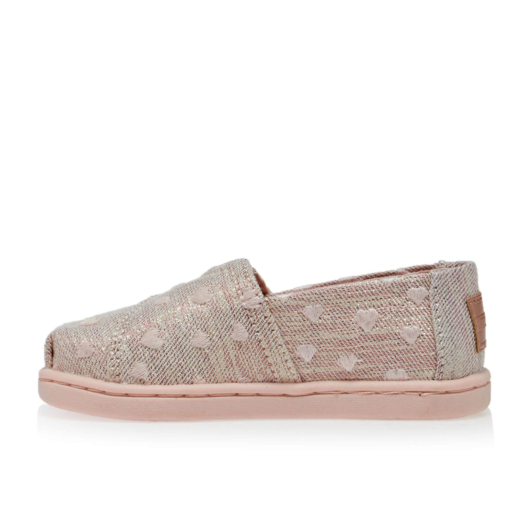 TOMS Kids Baby Girl's Alpargata (Toddler/Little Kid) Rose Cloud Heartsy Twill Glimmer Embroidery 11 M US Little Kid by TOMS Kids (Image #3)