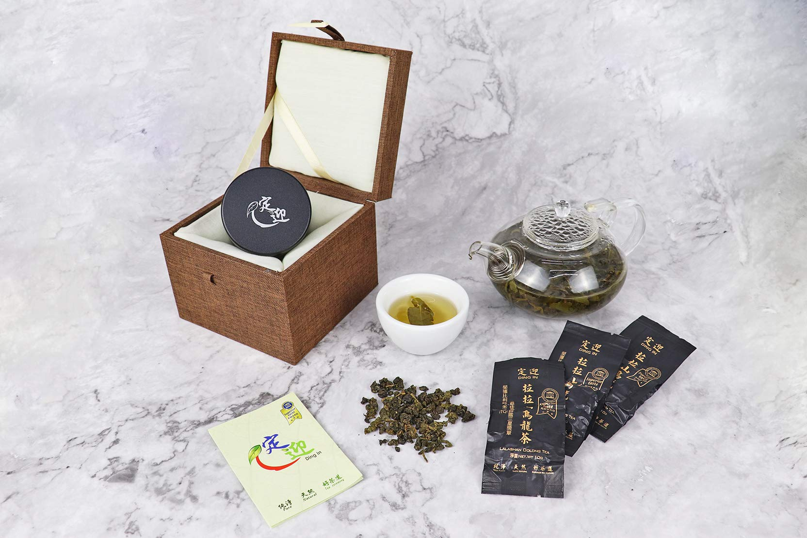 DING IN Lalashan Oolong Tea Horn buckle wooden box 10g3bag/can X2 by Ding In ltd. (Image #3)