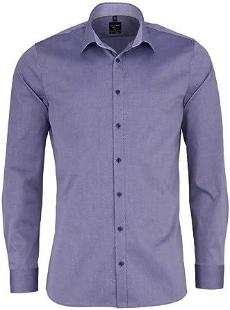 Olymp Camisa Super Slim No 6, azul estampado, manga larga 64 ...