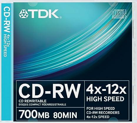 TDK CD-RW700HSCA10P-L - Pack de 10 CDs regrabables (700 MB, velocidad máxima de 12x): TDK: Amazon.es: Informática