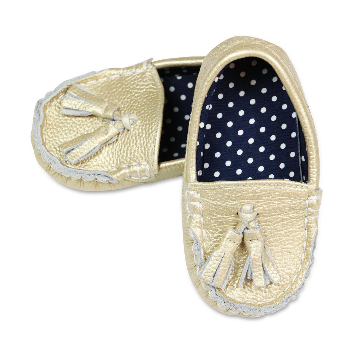 Golden Glam Toddler Leather and Pattern Moccasins Shoes (Size 9)