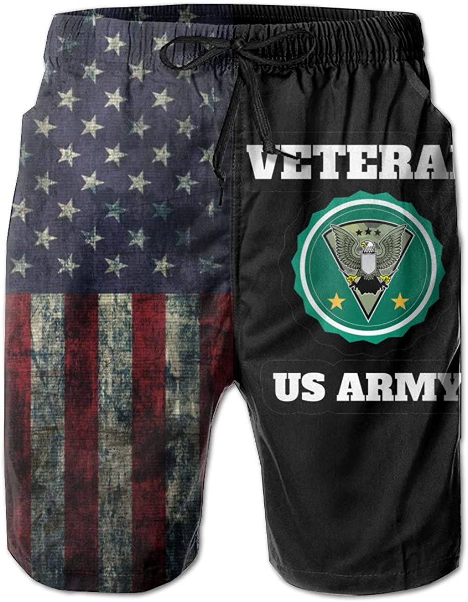 TBVS 79 US Army Vet Mens Holiday Party Hawaiian Shorts with Mesh Lining