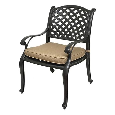 Nevada Cast Aluminum Patio Dining Chair With Premium SUNBRELLA Seat Cushion  (Sesame)