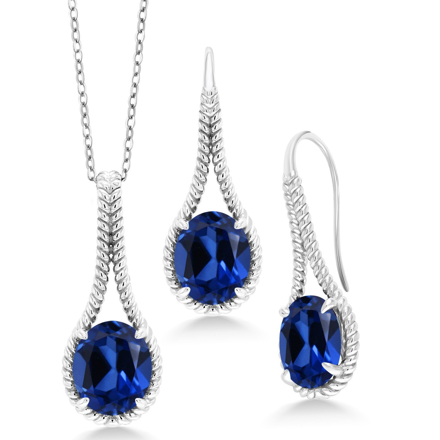 18.39 Ct Blue Simulated Sapphire 925 Silver Pendant Earrings Set With Chain