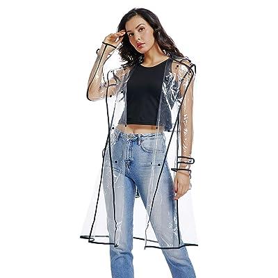 Waterproof Raincoat Lightweight Packable Raincoat Transparent Rain Ponchos Rainwear Women: Clothing