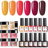 TOMICCA Dipping Powder Gel Polish and Nail Polish Set, Manicure Set With 6 Fall Winter Colors (002)