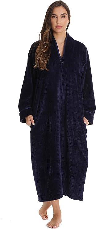Just Love Plush Zipper Long Robe 6792-NVY-M Navy