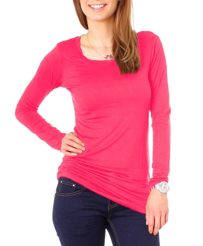 Damen Longshirt Langarm Jersey Basic Shirt 1/1 Arm T-Shirt Regular Fit Baumwolle einfarbig uni Rund Rundhals Ausschnitt