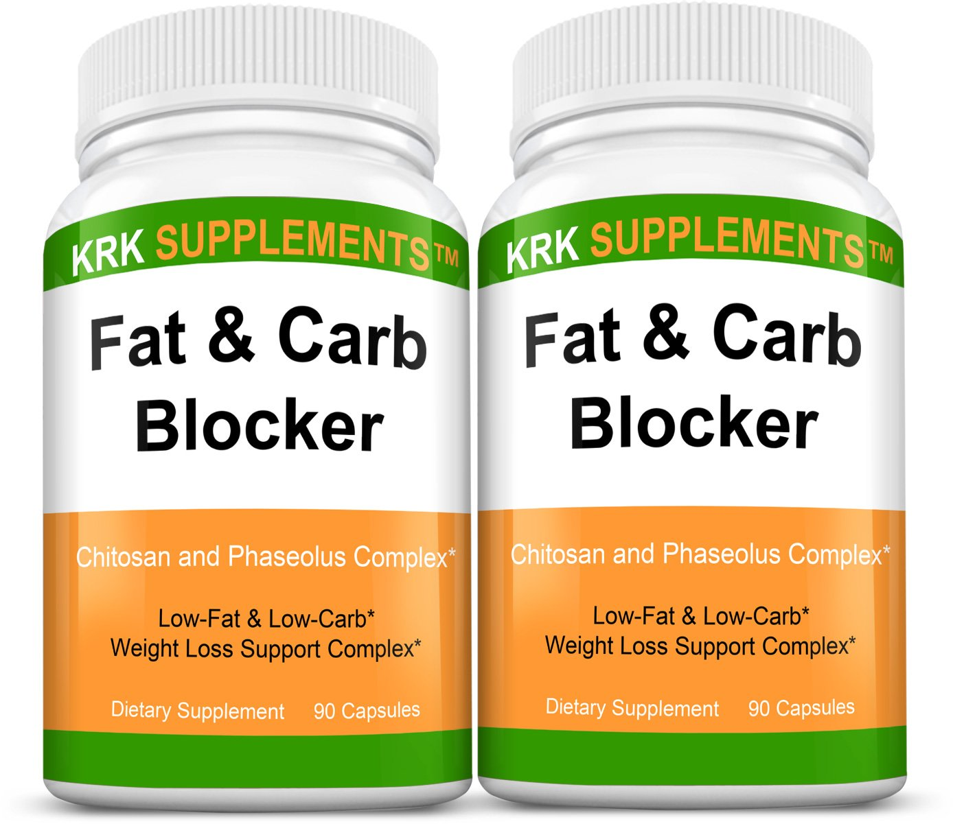 2 Bottles Fat and Carb Blocker with Phaseolus Vulgaris (White Kidney Bean Extract) Chitosan Extreme Diet Pills Weight Loss 180 Total Capsules KRK Supplements by KRK SUPPLEMENTS