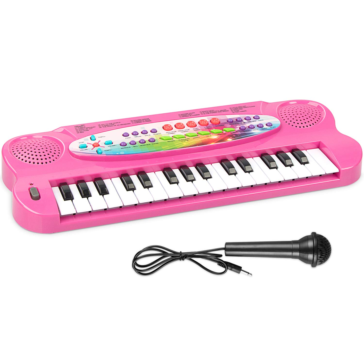 AIMEDYOU Kids Piano Keyboard 32 Keys Portable Electronic Musical Instrument Multi-Function Keyboard Teaching Toys Birthday Christmas Day Gifts for Kids (Pink)