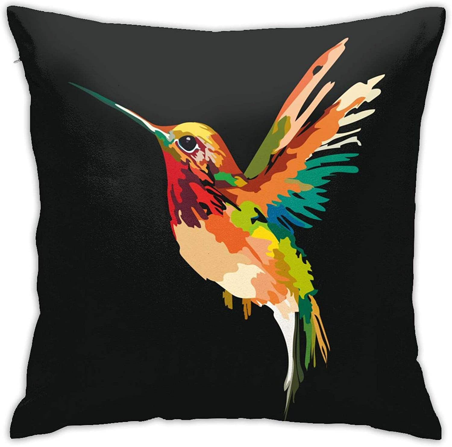 WAZHIJIA Hummingbird Pillows Decorative Throw Pillow Covers 18 X 18 Inch,Oil Painting Bird Cushion Cover Square Pillow Cases for Car Sofa Home Decor
