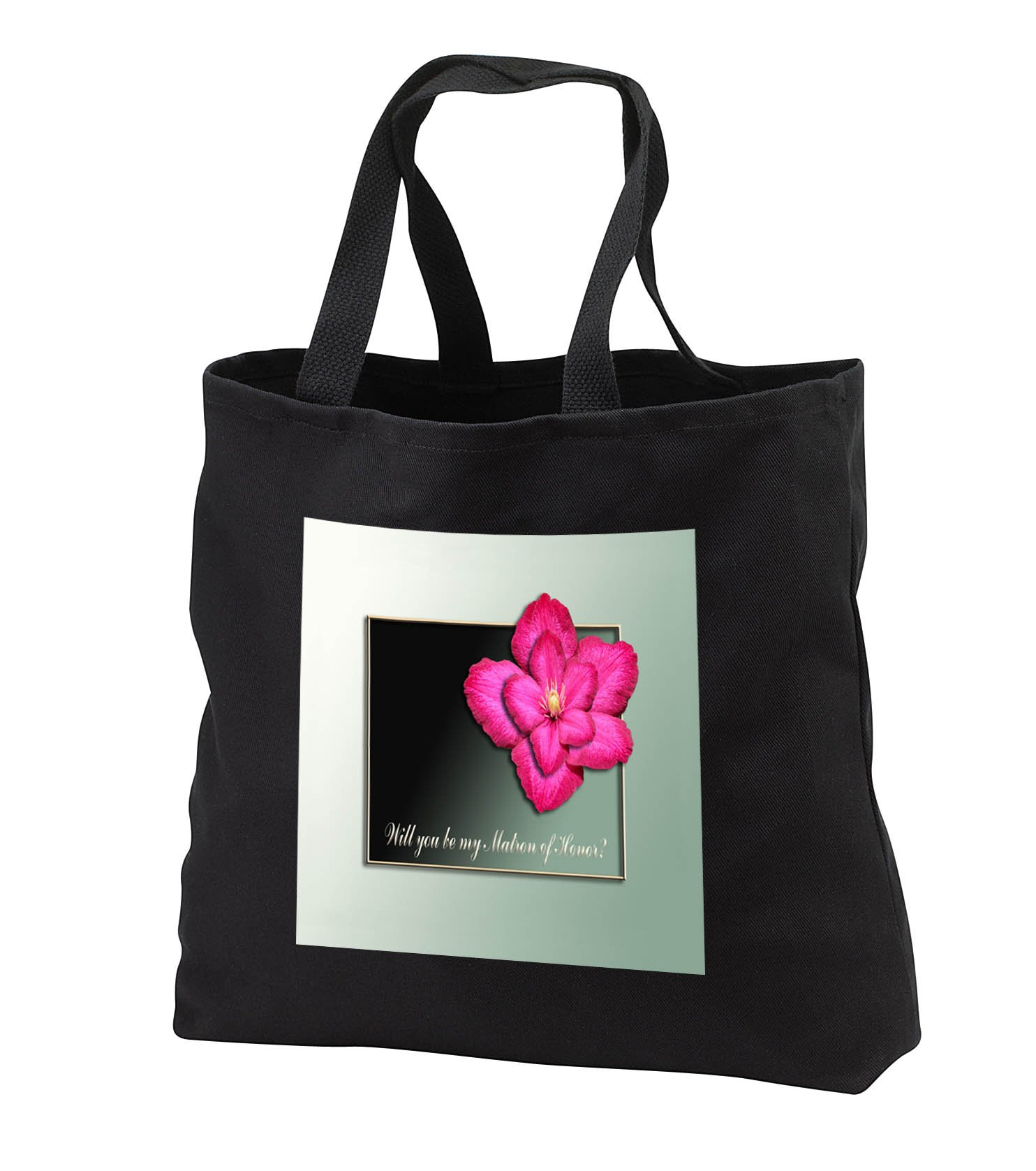 Beverly Turner Wedding Bridal Party Design - Will you be my Matron of Honor, Dark Pink Clematis Flower, Gold Frame - Tote Bags - Black Tote Bag 14w x 14h x 3d (tb_282198_1)