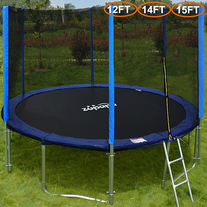 Zupapa 15 14 12 Ft TUV Approved Trampoline with Enclosure net and pole & Safety Pad & Ladder & Jumping Mat & Rain Cover