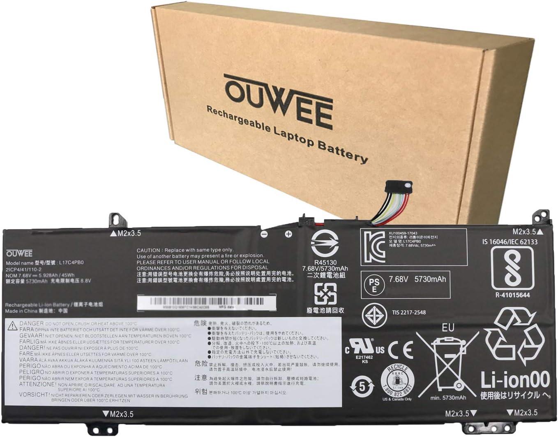 OUWEE L17C4PB0 Laptop Battery Compatible with Lenovo Flex 6-14IKB 14ARR IdeaPad 530S-14ARR 530S-14IKB 530S-15IKB Series L17M4PB0 L17C4PB2 L17M4PB2 5B10Q16066 5B10Q16067 5B10Q22883 7.68V 45Wh 5928mAh
