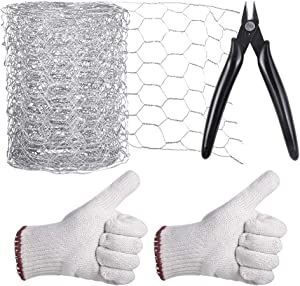 Aboofx Craft Chicken Netting, Galvanized Hexagonal Wire for Craftwork, 118 Inches x 4 Inches x 1 Inch Mesh, with Pliers and Gloves