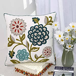 Oneslong Decorative Throw Pillows Cover Embroidery Floral Couch Pillow Cases Covers Modern Farmhouse Home Decor for Couch Sofa Bed Living Room Chair 18x18 Inch 100% Cotton