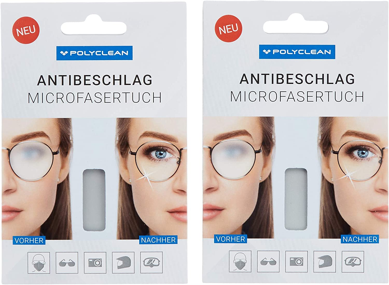 Polyclean 2x Antibeschlagtuch Ohne Zusätzliche Flüssigkeiten 18x15 Cm 2 Stück Drogerie Körperpflege