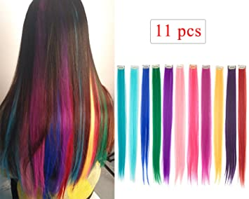 Amazon Com 10 Pcs Deep Purple Straight Clip On In Hair Extensions