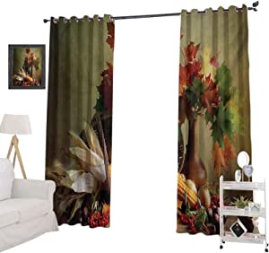 YUAZHOQI Blackout Curtains Photograph from Death of The Nature Season Fall Vegetables and Leafs Wooden Table Room Darkening Home Decor for Kids' Room 52