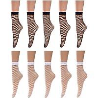 LWQ Women Fishnet Ankle Socks High Waist Women Footless Tights Half -calf Socks