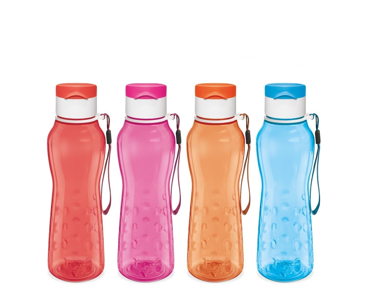 Sports Water Bottle - Milton Kids Reusable Leakproof 25 Oz 4-pack Plastic Wide Mouth Large Big Drink Bottle BPA & Leak Free With Handle Strap Carrier For Cycling Camping Hiking Gym Yoga Fitness