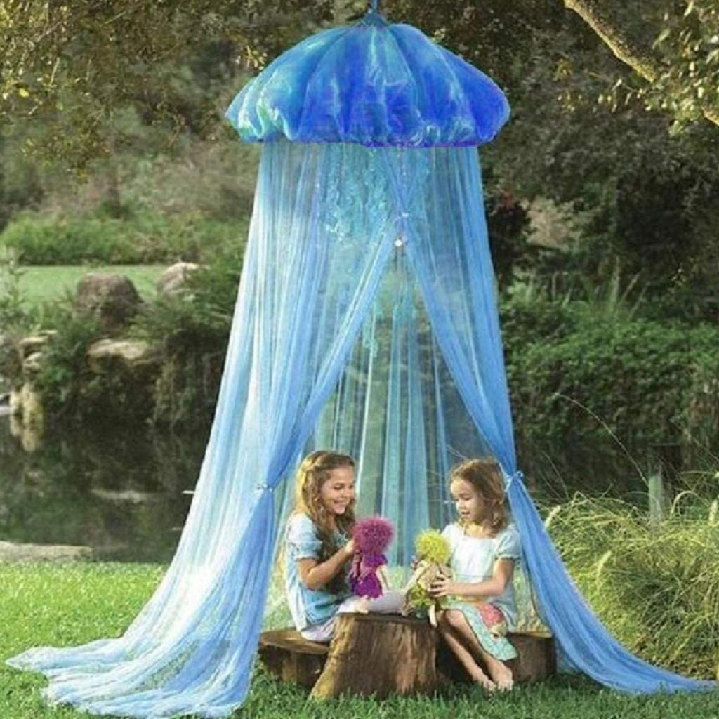 Summer Room Decor CUTICATE Kids Bed Canopy with Hanging Mosquito Net for Baby Crib Nook Blue Jellyfish Castle Game Tent Nursery Play