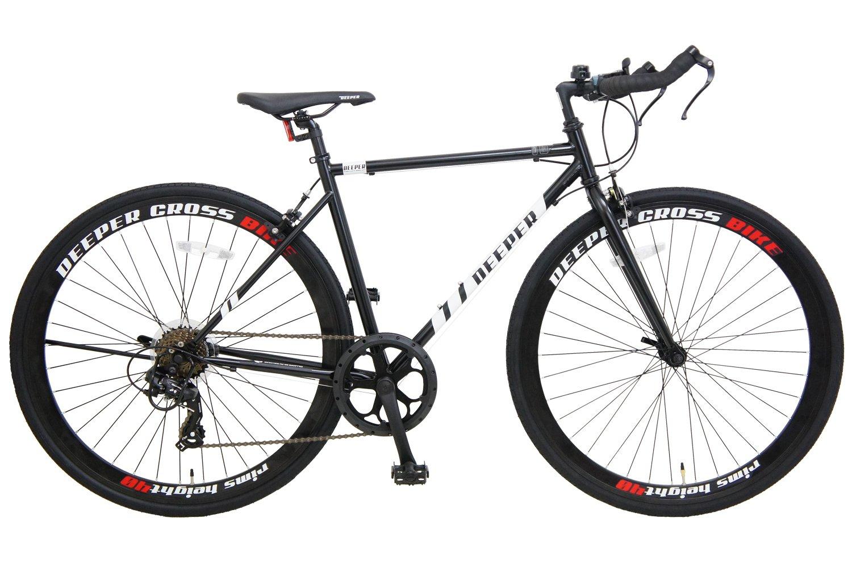 DEEPER クロスバイク DE-5048 700×28C シマノ7段変速 ブルホーンハンドル エアロブレーキ クイックレリーズ 40mmリム LEDライト付き ブラック×ホワイト B07BGXY1KB