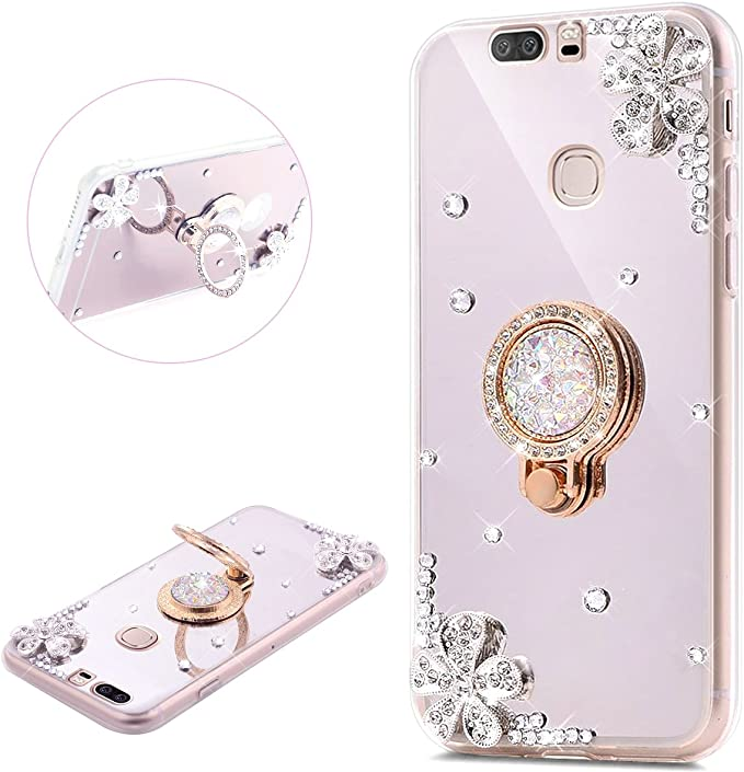PHEZEN Huawei Honor V8 Case Luxury Shiny Bling Glitter Rhinestone Silver Mirror Makeup Case with Ring Holder Stand Diamond Crystal Flower Protective TPU Case for Huawei Honor V8
