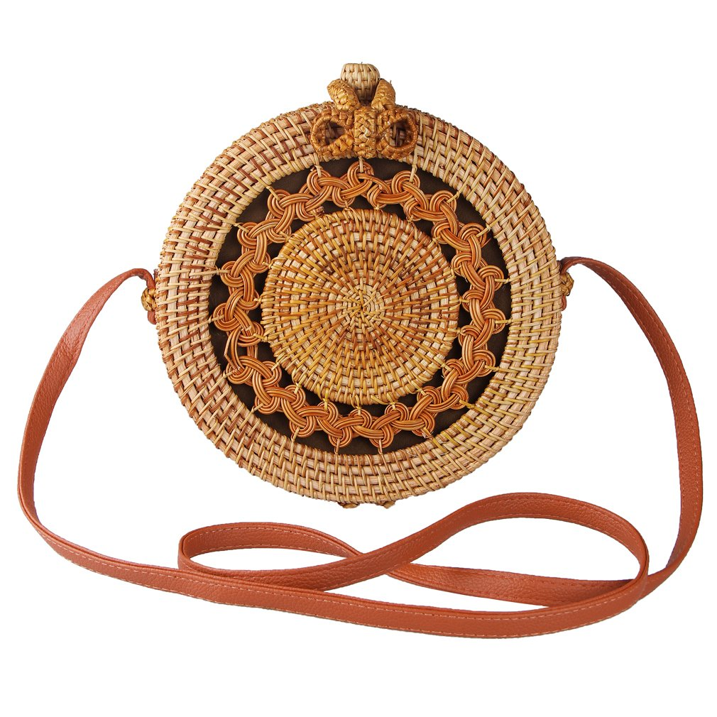 Partrisee Rattan Shoulder Tote bag Round Straw Crossbody bag Handwoven by Bali Artisans for Women