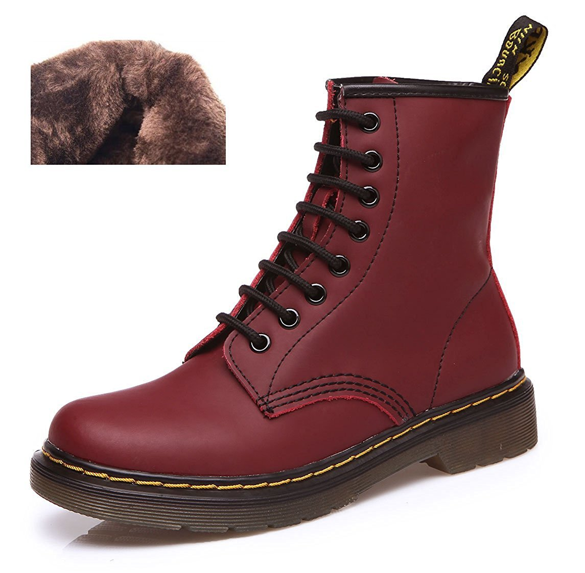 Modemoven Women's Round Toe Lase-up Ankle Boots Ladies Leather Combat Booties Fashion Martens Boots Velvet Cherry Red US7
