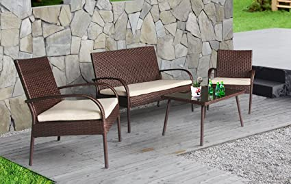 Cloud Mountain 4 PC Patio Rattan Furniture Set Wicker Rattan Conversation  Sectional Sofa Glass Top Table