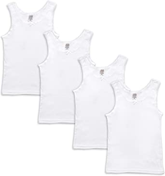 Jack and Jill Girls Ultra Soft 100/% cotton White Camisole Tank Top undershirts 4 Pack